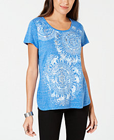 Style & Co Petite Medallion-Print Graphic T-Shirt, Created for Macy's