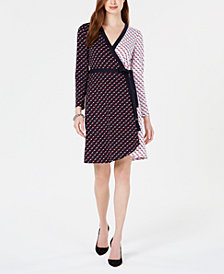 Tommy Hilfiger Star-Print Wrap Dress, Created for Macy's