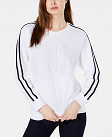 Tommy Hilfiger Striped-Sleeve Top, Created for Macy's