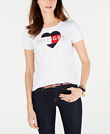 Tommy Hilfiger Logo Heart-Print T-Shirt, Created for Macy's