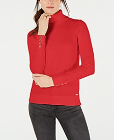 Cotton Button-Trim Turtleneck Sweater, Created for Macy's