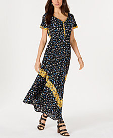 Style & Co Floral-Print Cinched-Waist Dress, Created for Macy's