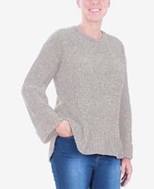 NY Collection Ribbed Cuffed Sweater