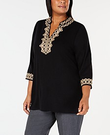 Plus Size Lace Tunic Top, Created for Macy's