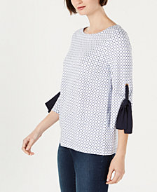 Charter Club Printed Tie-Sleeve Top, Created for Macy's
