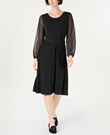 Charter Club Sheer-Sleeve Midi Dress, Created for Macy's