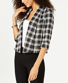 Kasper Plaid-Print Wide-Lapel Blazer