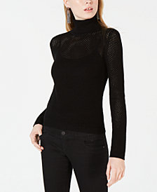 Bar III Perforated Pullover Turtleneck Sweater, Created for Macy's