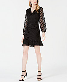 Bar III Polka-Dot Ruffled A-Line Dress, Created for Macy's