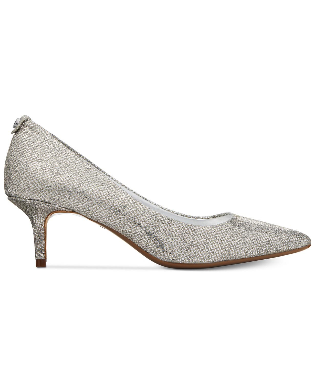 4708f8c99f82 Michael Kors MK Flex Kitten Heel Pumps (Silver Glitter)    FREE ...