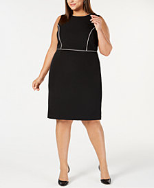 Kasper Plus Size Piped-Trim Sheath Dress