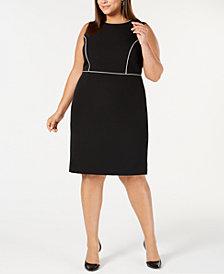 Kasper Plus Size Piped-Trim Sheath Dress