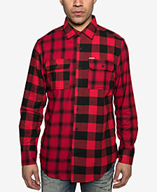 Sean John Mens Colorblocked Plaid Shirt