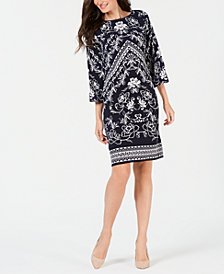 JM Collection Printed Ruched Boatneck Dress, Created for Macy's