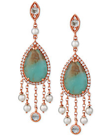Le Vian® Turquoise Aquaprase (14 x 9mm), Cultured Freshwater Pearl (3mm) & White Topaz (3/4 ct. t.w.) Drop Earrings in 14k Rose Gold