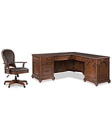 Clinton Hill Cherry Home Office, 2-Pc. Set (L-Shaped Desk & Leather Desk Chair)