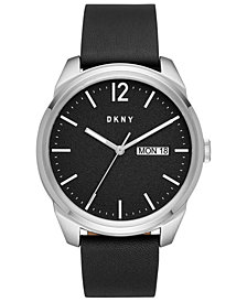 DKNY Men's Gansevoort Black Leather Strap Watch 46mm, Created For Macy's