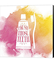 Brush Those Teeth Watercolor Splash by Color Me Happy Canvas Art