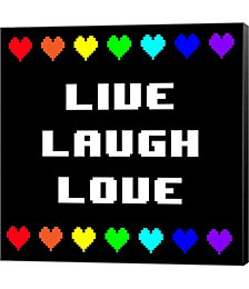 Live Laugh Love - Black with Pixel Hearts by Quote Master Canvas Art