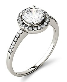 Moissanite Round Halo Ring (1-1/3 ct. t.w. Diamond Equivalent) in 14k Gold or White Gold
