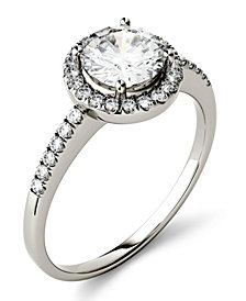 Moissanite Round Halo Ring (1-1/3 ct. t.w. Diamond Equivalent) in 14k White Gold