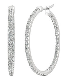 Moissanite Large Hoop Earrings (1-1/10 ct. tw. Diamond Equivalent) in 14k White Gold