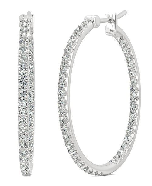 Moissanite Large Hoop Earrings 1 10 Ct Tw Diamond Equivalent In 14k White Gold