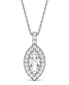 Moissanite Marquise Halo Pendant (1-1/3 ct. tw.) in 14k White Gold