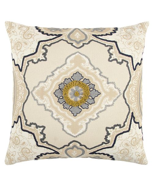 """Rizzy Home 20"""" x 20"""" Medallion Poly Filled Pillow"""