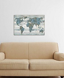 """""""World Map On Wood"""" by Janie Macdowell Gallery-Wrapped Canvas Print"""