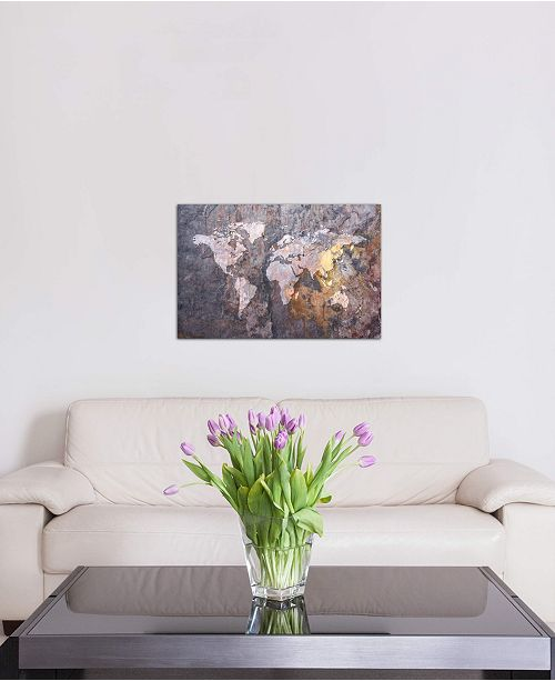"""iCanvas """"World Map on Stone Background"""" by Michael Tompsett Gallery-Wrapped Canvas Print"""