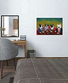 """Three Boston Terriers And A French Bulldog"" by Brian Rubenacker Gallery-Wrapped Canvas Print"