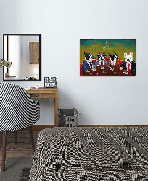 """iCanvas """"Three Boston Terriers And A French Bulldog"""" by Brian Rubenacker Gallery-Wrapped Canvas Print"""