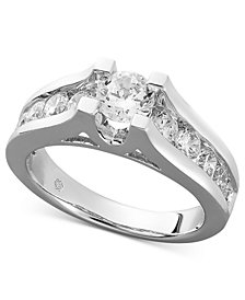 Certified Diamond Channel Engagement Ring in 14k White Gold (1-1/2 ct. t.w.)