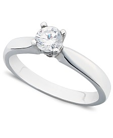 Certified Diamond Round Solitaire Engagement Ring in 14k White Gold (3/8 ct. t.w.)