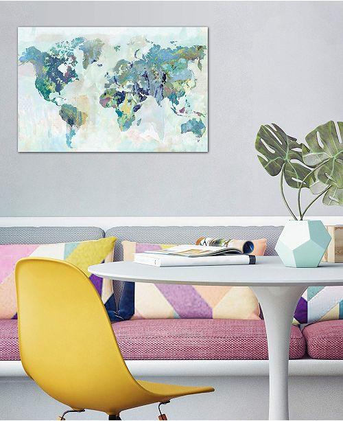 """iCanvas """"Watercolor World Map"""" by Xander Blue Gallery-Wrapped Canvas Print (26 x 40 x 0.75)"""
