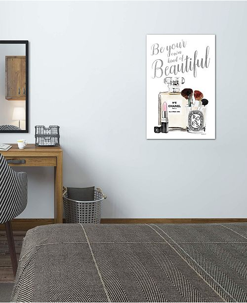 """iCanvas """"Be Your Own Kind Of Beauty Silver Makeup"""" by Amanda Greenwood Gallery-Wrapped Canvas Print (26 x 18 x 0.75)"""