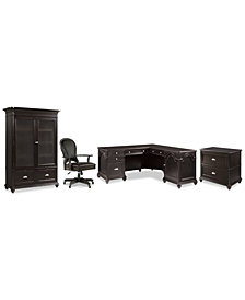 Clinton Hill Ebony Home Office, 4-Pc. Set (L-Shaped Desk, Lateral File Cabinet, Door Bookcase & Leather Desk Chair), Created for Macy's