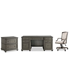 Sloane Home Office, 3-Pc. Set (Executive Desk, Lateral File Cabinet & Upholstered Desk Chair), Created for Macy's
