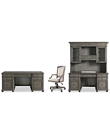 Sloane Home Office, 4-Pc. Set (Executive Desk, Credenza, Hutch & Upholstered Desk Chair), Created for Macy's