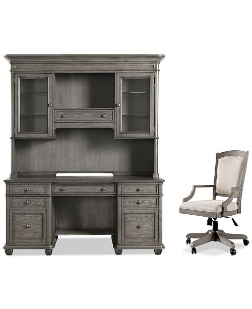 Furniture Sloane Home Office, 3-Pc. Set (Credenza, Hutch & Upholstered Desk Chair), Created for Macy's