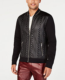 I.N.C. Men's Faux Leather Cable Bomber Jacket, Created for Macy's