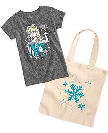 Disney Little Girls 2-Pc. Elsa Graphic-Print T-Shirt & Tote Bag Set
