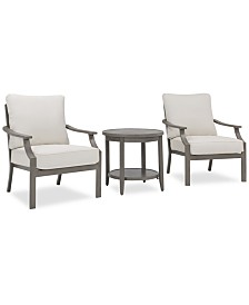 Rialto Outdoor Aluminum 3-Pc. Chat Set (2 Lounge Chairs & 1 Round Side Table), Created For Macy's