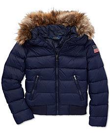Polo Ralph Lauren Big Girls Faux-Fur-Trim Down Coat
