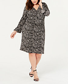 R & M Richards Plus Size Flocked Sheath Dress