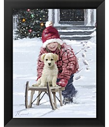 Girl And Puppy by The Macneil Studio Framed Art