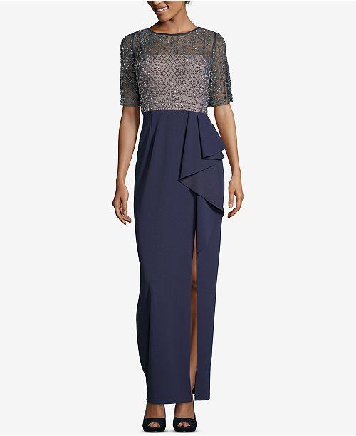 a7e917aed91 XSCAPE Beaded Ruffle-Skirt Evening Gown   Reviews - Dresses - Women ...