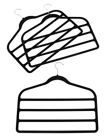 Pant Hangers, 3 Pack Felt 4 Tiered Clothes Hangers