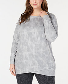 Ideology Plus Size Tie-Dyed Tulip-Hem Tunic, Created for Macy's
